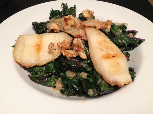 Grilled Kale, Pear and Walnut Salad