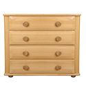 Light wood chest of drawers against white background
